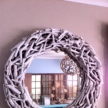 Driftwood Mirror, distressed, round, 82cm