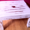 Balau Exterior side table, distressed, 60cm x 60cm.